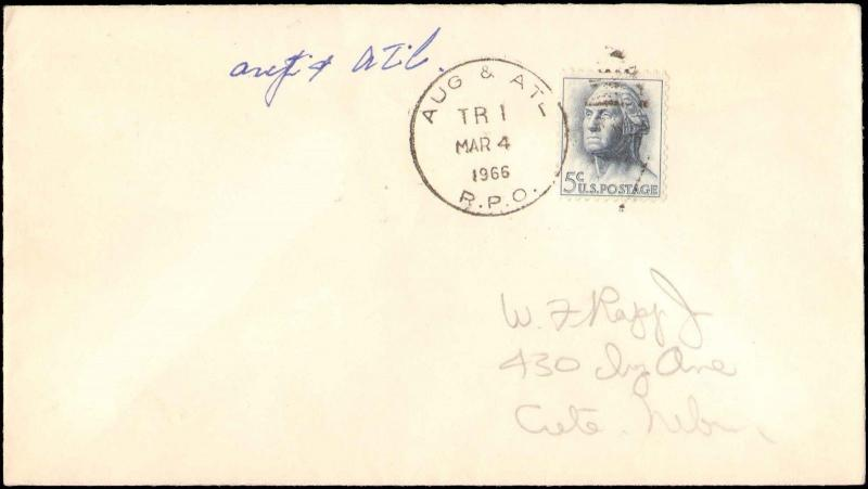 1966 AUG & ATL RPO RAILROAD POST OFFICE CANCEL