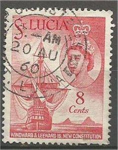ST. LUCIA, 1960 used 8c Elizabeth Scott 173