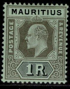 MAURITIUS EDVII SG192, 1r black/green, LH MINT. Cat £22.