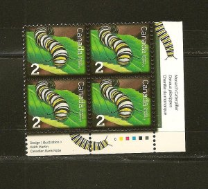 Canada Insects Caterpillar 2 Cent Issue Lower Right Block of 4 MNH