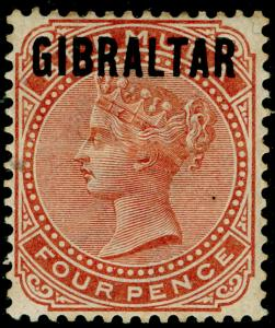 GIBRALTAR SG5, 4d Orange Brown, M MINT. Cat £190.