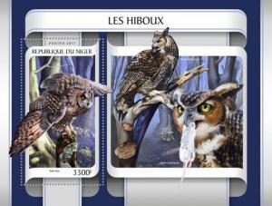 NIGER 2017 SHEET OWLS HIBOUX EULEN BUHOS CORUJAS CHOUETTES BIRDS nig17209b