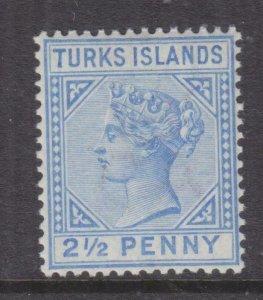 TURKS ISLANDS, 1893 2 1/2d. Ultramarine, lhm.