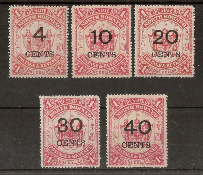 North Borneo 1895 Surcharge Set SG87-91 Mint Cat£180