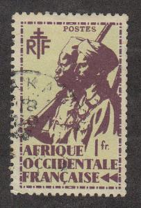 French West Africa Colonial Soldier (Scott #24) Used