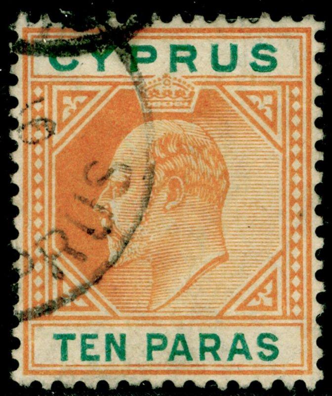 CYPRUS SG61a, 10pa orange & green, FINE USED.