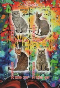 Chad Cat Selkirk Rex Domestic Animal Souvenir Sheet of 4 Stamps Mint NH