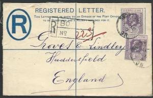 SIERRA LEONE 1927 GV 3d Registered cover to UK, ex BO......................57010