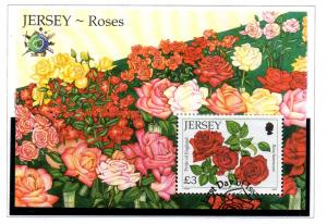 Jersey Sc 1455 2010 £3 Roses stamp sheet used