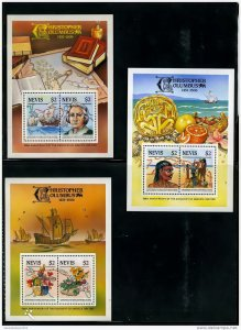 Nevis 1986 - 500th.Anni.Disc.America by Columbus 3 Souvenir Sheets MNH