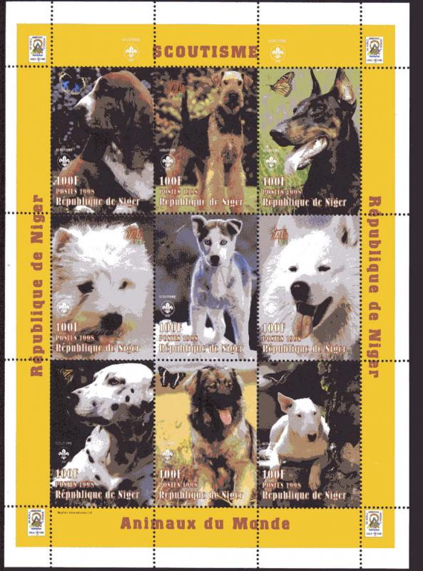 Niger MNH S/S 1009 Dogs 9 stamps 1998