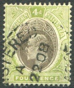 SOUTHERN NIGERIA-1907 4d Grey-Black & Olive-Green chalk paper Sg 26a GU V48930