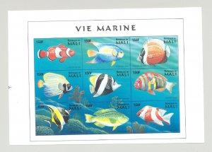 Mali #897 Fish 1v M/S of 9 Imperf Chromalin Proof