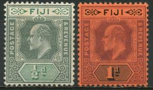 FIJI  Sc#70 & 71 SG#115 & 116 1904 KEVII Multiple Wmk Mint OG