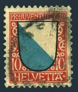 Switzerland B16,used.Michel 154. Pro Juventute 1920.Arms of Zurich.
