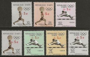 Haiti 1965 Tokyo Olympics Sports Set #B35-37, CB51-54 with RED SURCH. var. VF-NH