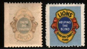 LIONS BLIND AID CHARITY FUND WITH PRINTING ERROR PAIR