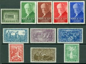 EDW1949SELL : NORWAY 1935-41 Sc #240-45, 246, B5-8 All Cplt sets VF MNH Cat $155