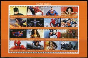 CONGO 2017  SUPER HEROES: SUPERMAN, BAT MAN, SPIDERMAN & WONDER WOMAN SHEET NH