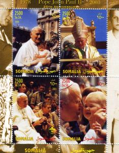 Somalia 2003 Pope John Paul II Sheet (4) Perforated mnh.vf