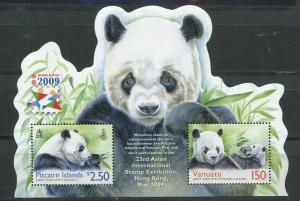 Pitcairn vanuatu 2009  panda wild animals s/s  MNH