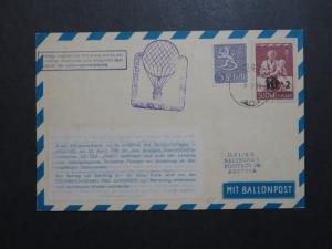 Finland 1959 Austiran Balloon Flight Card - Z8798