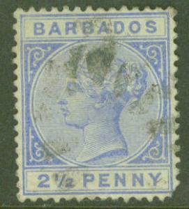Barbados Scott 62 Queen Victoria 2.5 penny 1882
