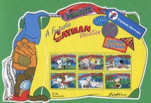 Charlie Brown Peanuts Comic Souvenir Stamp Sheet Grand Cayman Islands E71