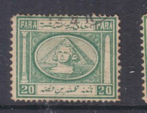 EGYPT, 1867 20pa. Pale Blue Green, used.