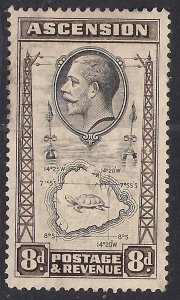 Ascension Island 1934 KGV 8d Map of Island MM SG 27 ( B1159 )