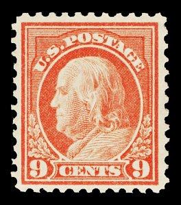 Scott 509 1917 9c Franklin Mint F-VF NH but Disturbed Gum Cat $11
