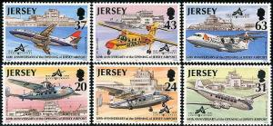 HERRICKSTAMP JERSEY Sc.# 790-95 1997 Airport/Airplanes