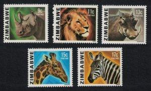 Zimbabwe Rhinoceros Lion Warthog Giraffe Zebra Wild Animals 5v SG#581-585