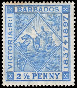 Barbados - Scott 84 - Mint-Hinged - Toning - Pencil Marks on Back