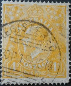 Australia 1916 GV Four Pence with REGISTERED MELBOURNE postmark