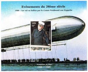 Niger 1998  YT#B.106 1st.Fly Ballon von Zeppelin Souvenir Sheet Imperf.MNH