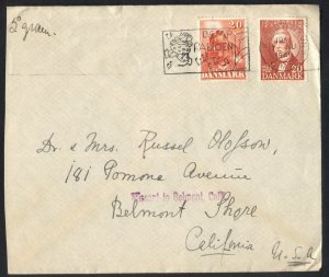 Denmark 1949 Postal Cover Sc#302,304 Copenhaven [Fancy Music Machine Cancel] VF