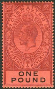 GIBRALTAR-1912-24 £1 Dull Purple & Black/Red superb lightly mounted mint Sg 85