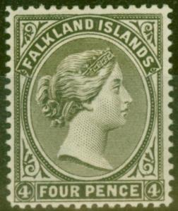 Falkland Is 1889 4d Olive Grey-Black SG12 V.F Lightly Mtd Mint