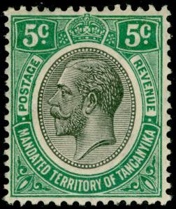 TANGANYIKA SG93, 5c green, LH MINT.