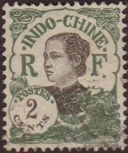 Indo China 1922 Sc#99 SG#120 2c Green Annamite Girl Used