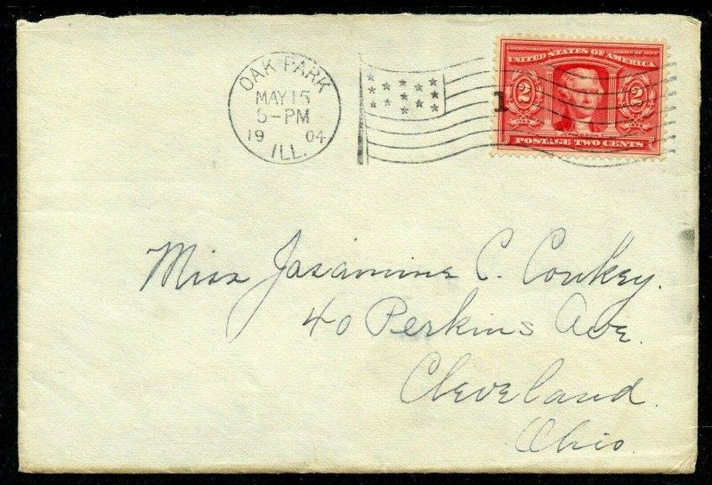U.S. Scott 324 2 Cent Louisiana Purchase On Cover from Oak Park, Illinois