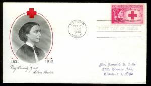 UNITED STATES FDC 3¢ Clara Barton 1948 Fulton