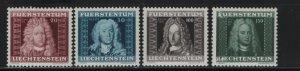 LIECHTENSTEIN 172-175 (4) Set, Hinge Remnant, 1941 Famous Men
