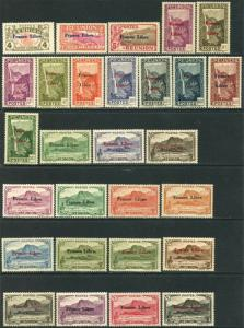 REUNION Sc#178-203, 205-208, 210-223, C14-17 1943 France Libre Ovpts OG MH