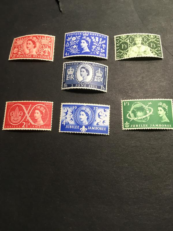 GB #313-6&334-6 Mint VF-H 2015 Sc. Cat $$22.05 1953 Coronation & 1957 Scouts