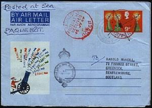 GB 1969 9d airletter, ship cachet, DOVER PAQUEBOT cds in red...............98302