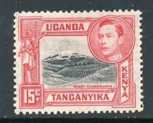 KUT 1938 KGVI 15c perf 13¼ SG 137 black + rose-red mint CV £45.