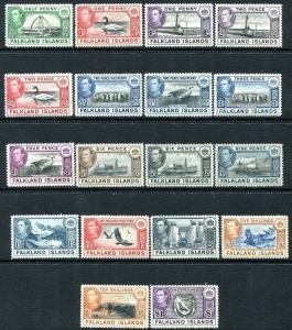 FALKLAND ISLANDS-1938-50  Set to £1 Sg 146-163 MOUNTED MINT V30335