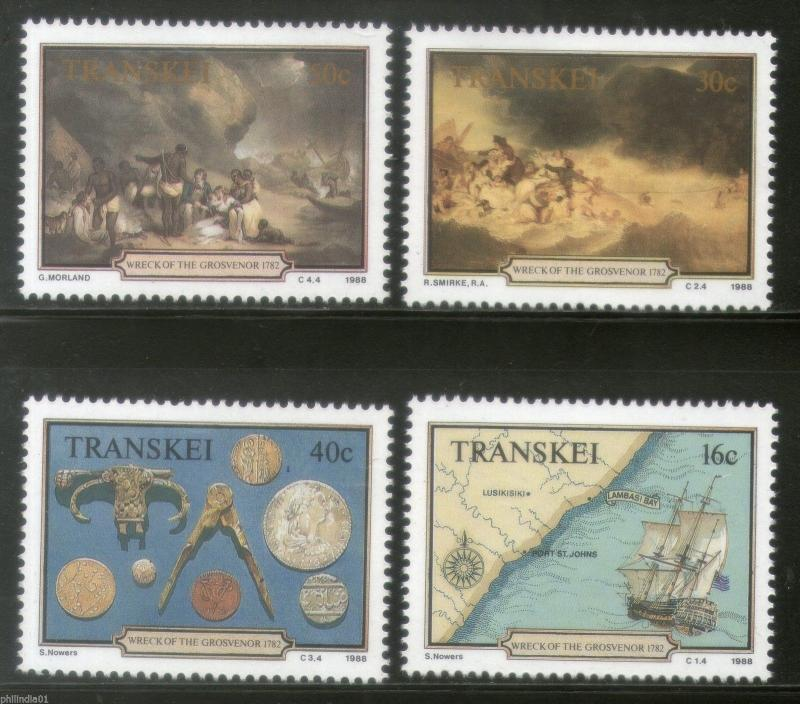 Transkei 1988 Wreck of Grosvenor Ship Map Compass Painting Sc 207-10 MNH # 3696